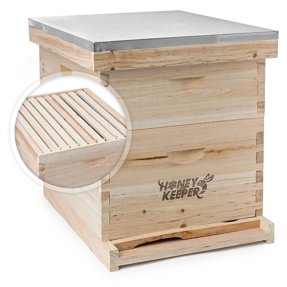 Honey Keeper Beehive Metal Roof Beekeeping Kit Cover Wood Base Support Hive Bee Keeping Bee Hive Kits Bee Keeping Supplies