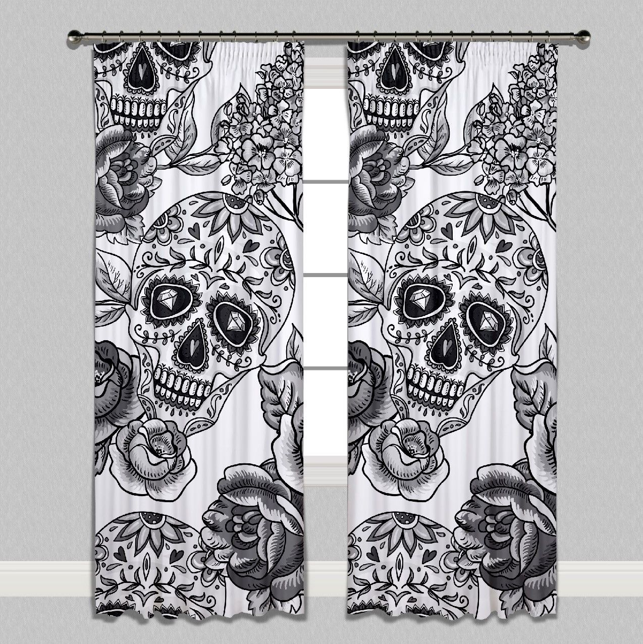 Signature White Sugar Skull Curtains or Sheers | Harry Bones | Pinterest