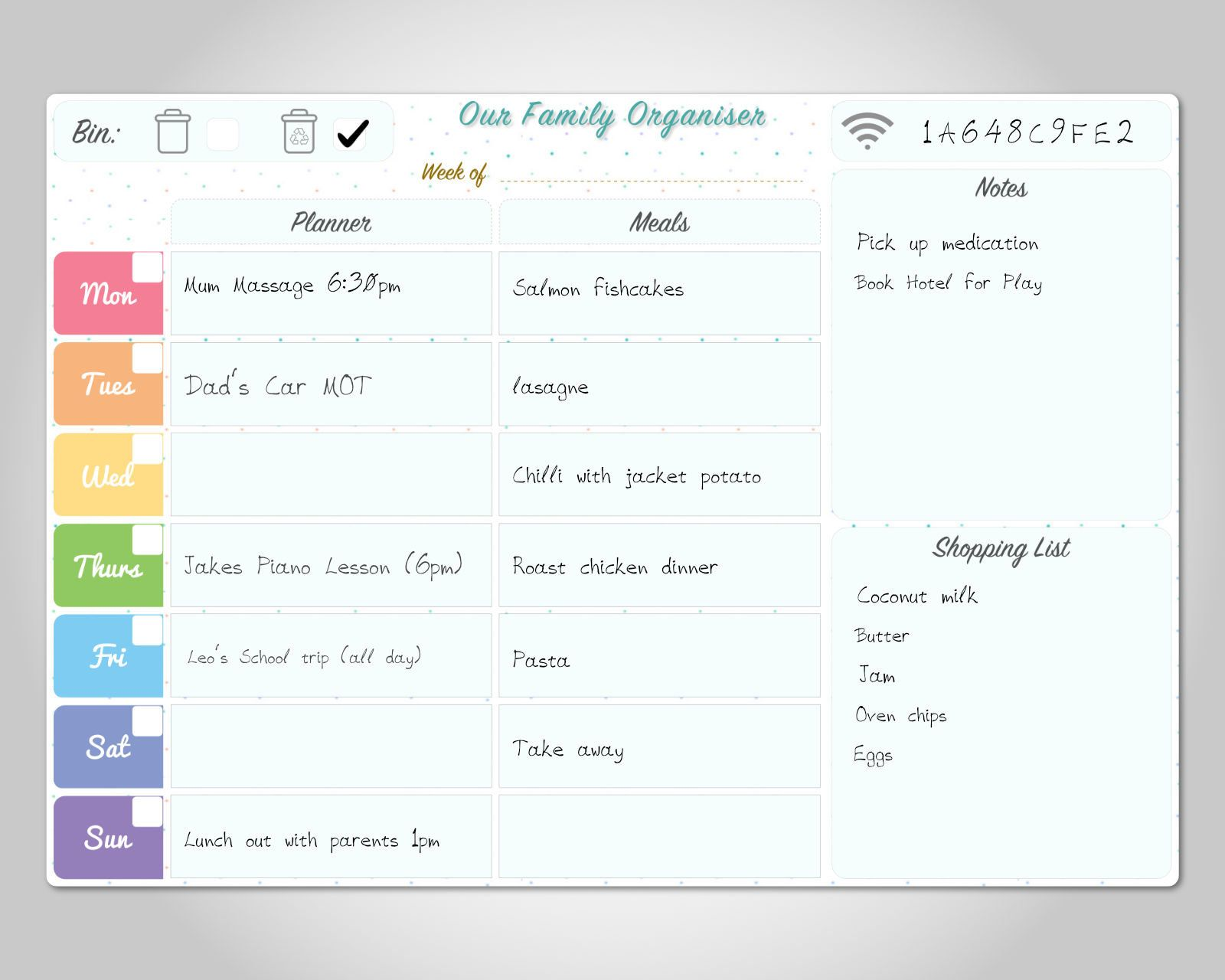 Personalised Dry Wipe Whiteboard Weekly Family Etsy Family Organizer Family Planner Wipe Board