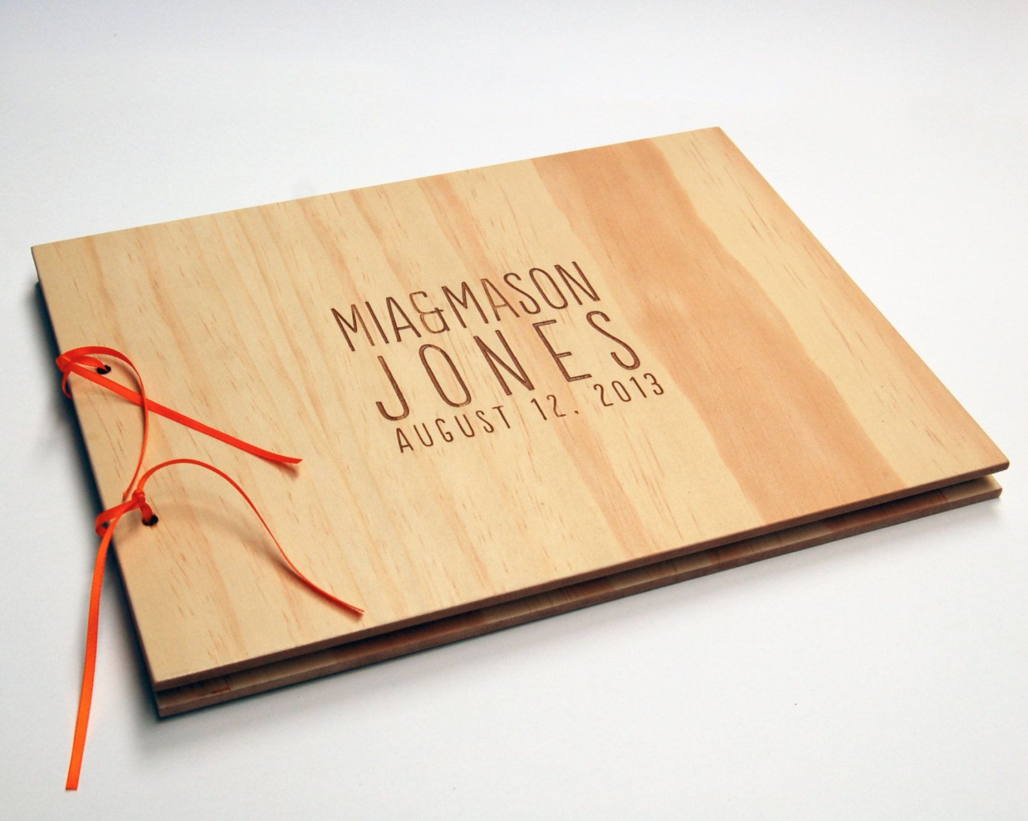 Diy Engraved Guest Book Wood Wedding Personalized Bridal Engagement Rustic Modern 40 00