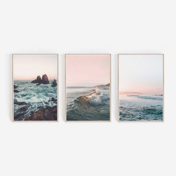 Beach Prints,Beach Wall Art,Cliff Print,Coastal Print,Ocean Print,Wave Print,Pink Wall Art,Set of 3 Prints,Print Set,Wall Art Gallery,Prints
