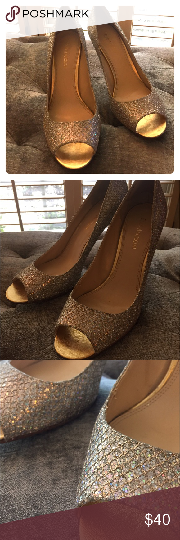 Enzo Metallic Heels Super chic and dressy peep toe heels from Enzo Angiolini in a size 9.5.  The right shoe has the lining slightly coming up at the toe but just needs a little adhesive to set it in place.  Silver sparkly upper with gold heel. Enzo Angiolini Shoes Heels