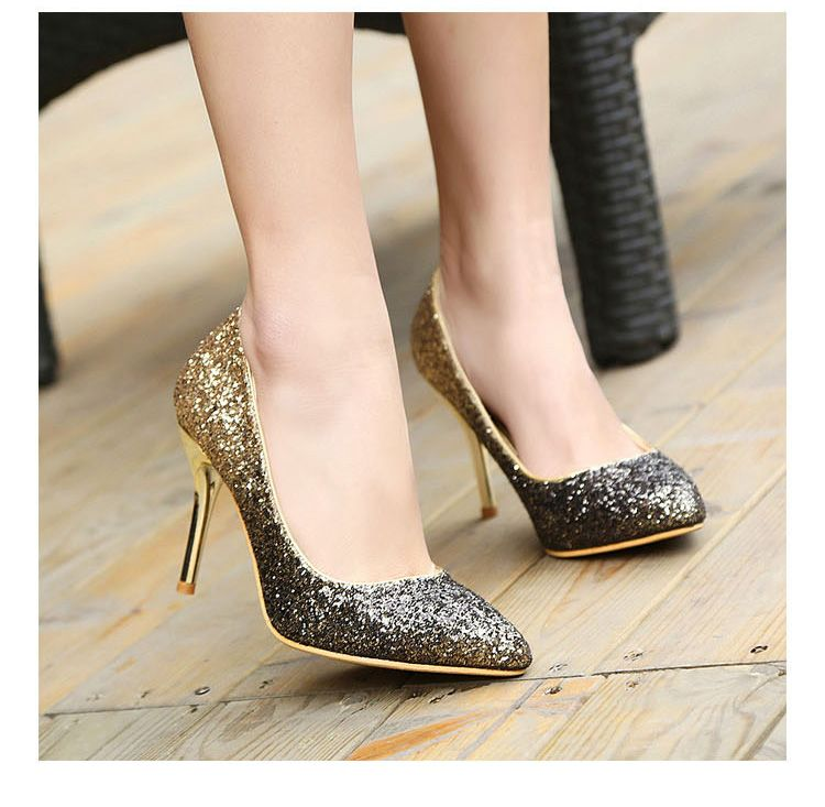 [Visit to Buy] 2016 women pumps famous golden sliver glitter high heels  comfortable high quality women party shoes office heels