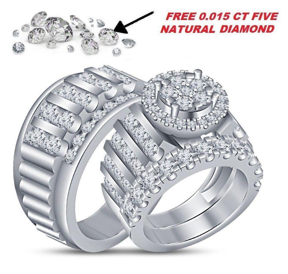 3 00 Ct Lab Diamond Wedding Band White Gold Over Trio Bridal Engagement Ring Set