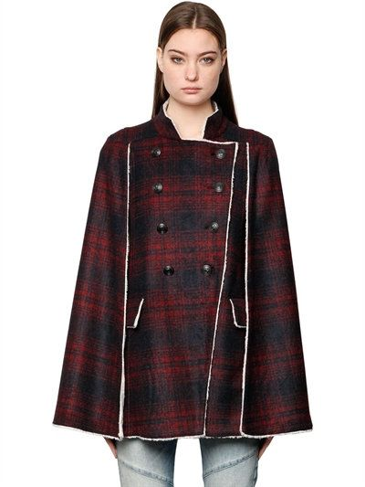 fdaecf35d9 PIERRE BALMAIN Plaid Wool Cape W/ Faux Shearling Lining, Black/Red. # pierrebalmain #cloth #coats