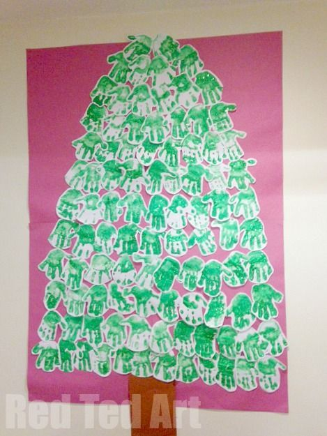 Classroom Christmas Craft Handprint Tree Red Ted Art Make Crafting With Kids Easy Fun Classroom Christmas Crafts Christmas Classroom Christmas Crafts
