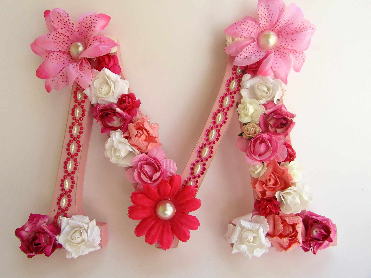 Custom name letter - Floral name letter - Pink flower letter - Pink letter M - Photography prop - Wedding decor - Wood letter M - Decor by PreciousGiftsbyDiane on Etsy