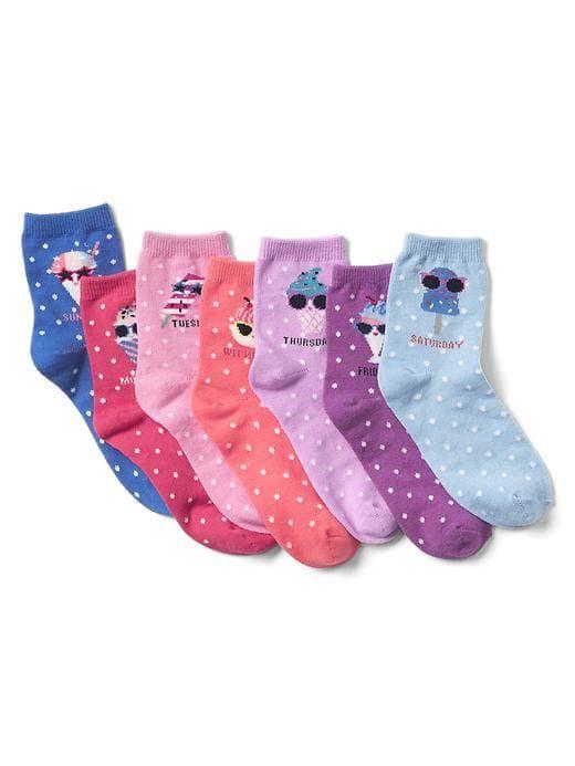 Days Of The Week Socks Gap Girls Ice Cream Days Of The Week Socks 7 Pack Multi Girl
