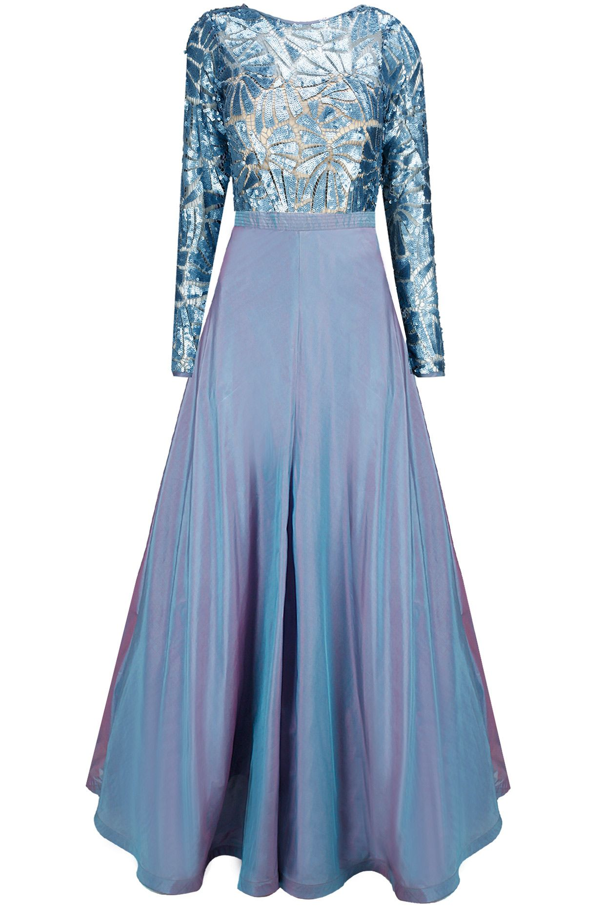 Caroline blue sequins embellished gown available only at perniaus