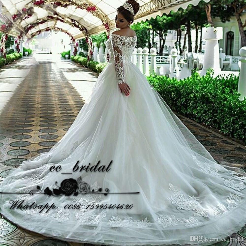 Sheer Long Sleeves Saudi Arabia Wedding Dresses With Luxury Applique ...