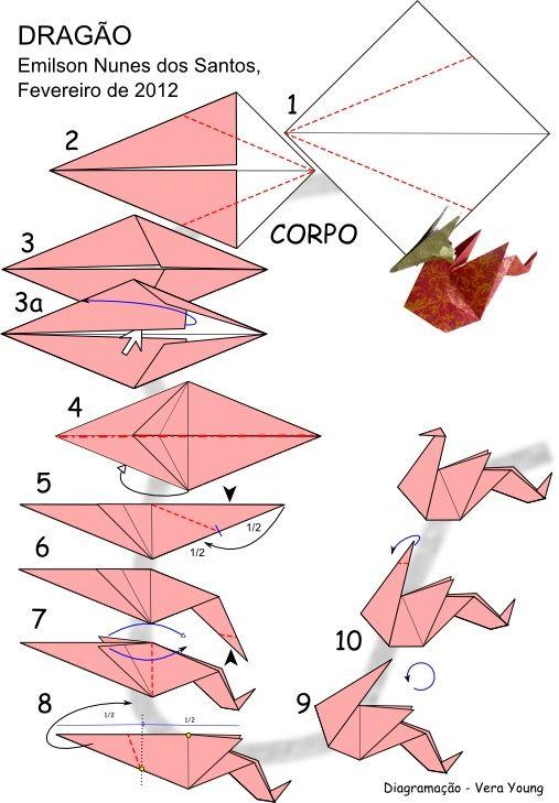 Origami Dragon Folding Instructions Origami Pinterest Origami