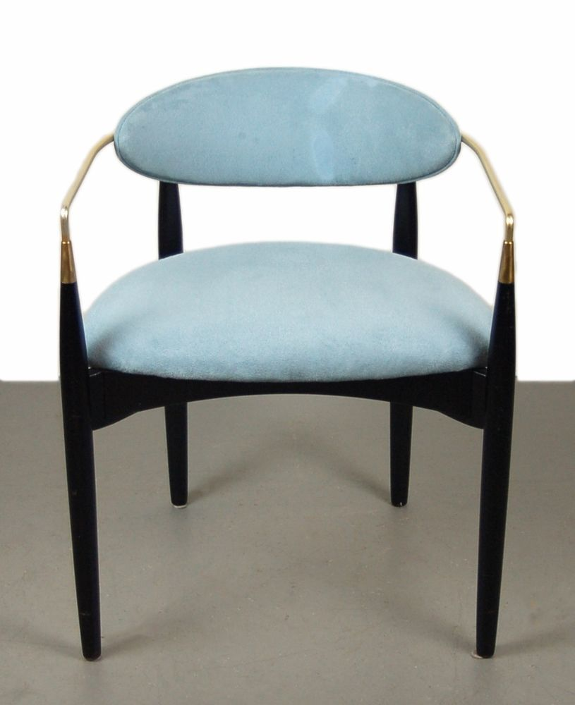Modern wood chair with arms - Mid Century Modern Dan Johnson Viscount Arm Chair Ebonized Wood And Brass Midcenturymodern