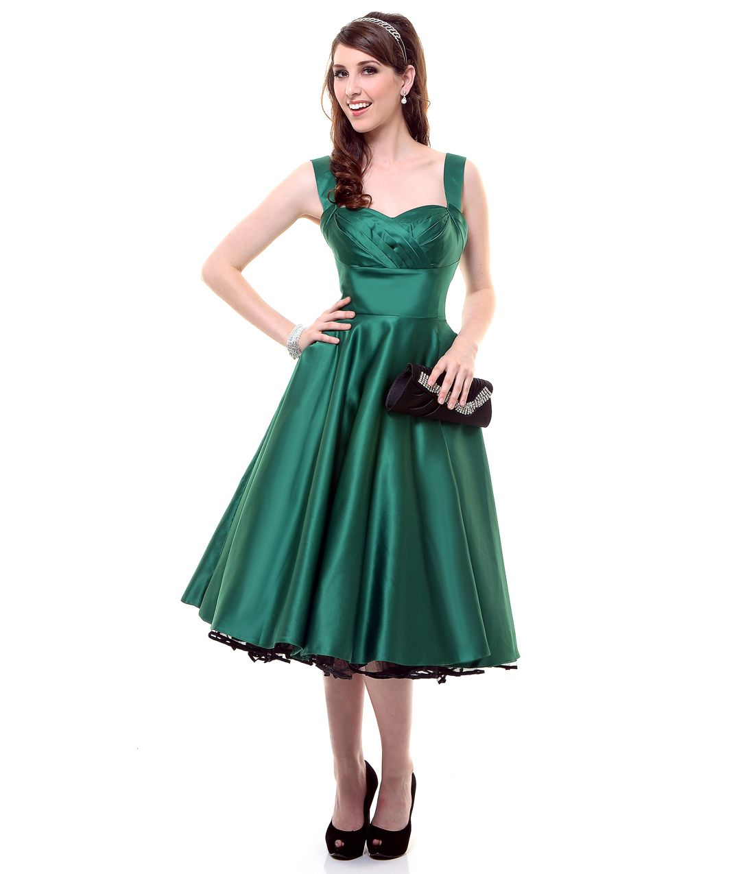 Emerald Green Satin Happily Ever After Pleated Swing Dress ...