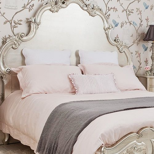 I Love EVERYTHING About This Bedroom Especially The Headboard French Style Bed With Blush Pink Linens
