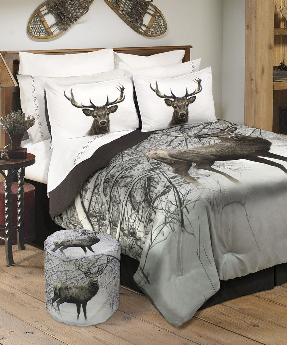 whitetail ridge combo  pc twin comforter set   valance  - inc deer in snowy forest wildlife comforter set