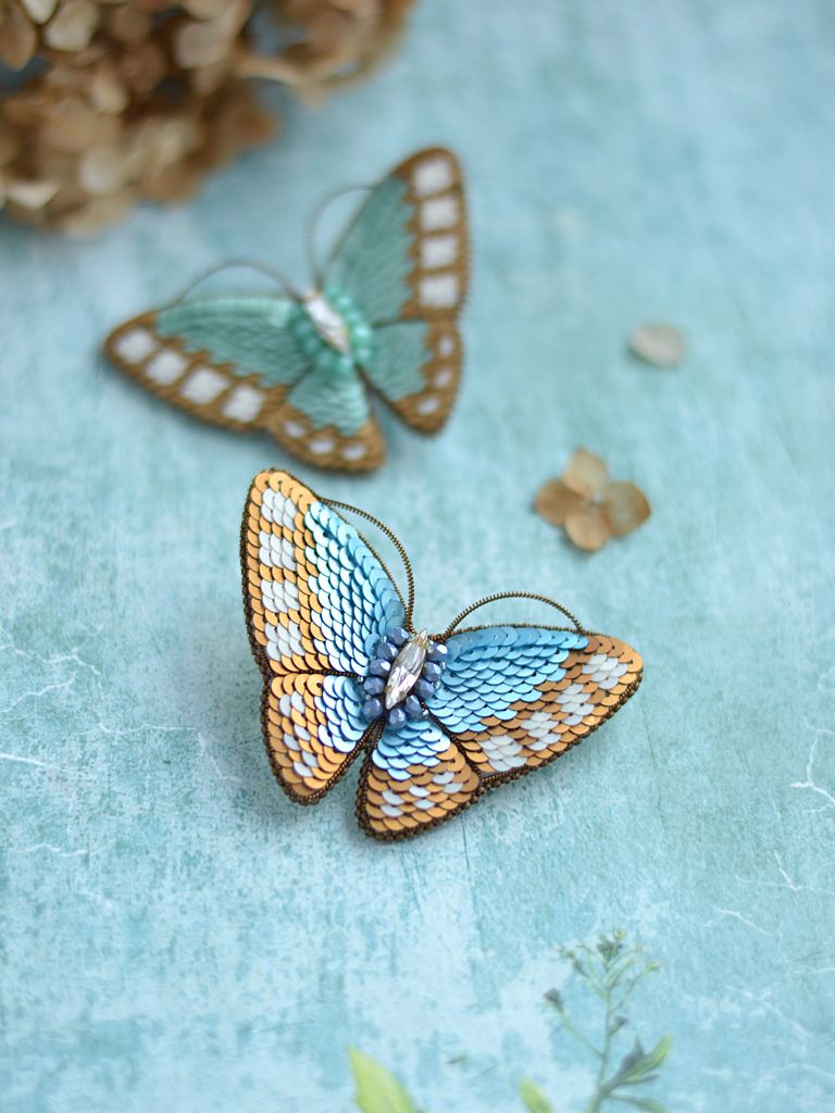575566baf02 Blue Butterfly Brooch With Sequins Swarovski Crystal Brooch Insect Jewelry  Moth Pin