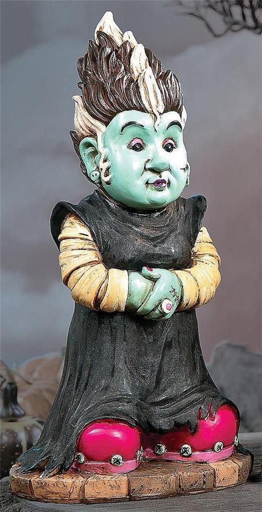 Halloween Creepy Bride of Frankengnome Garden Gnome Statue Yard Art - halloween statues