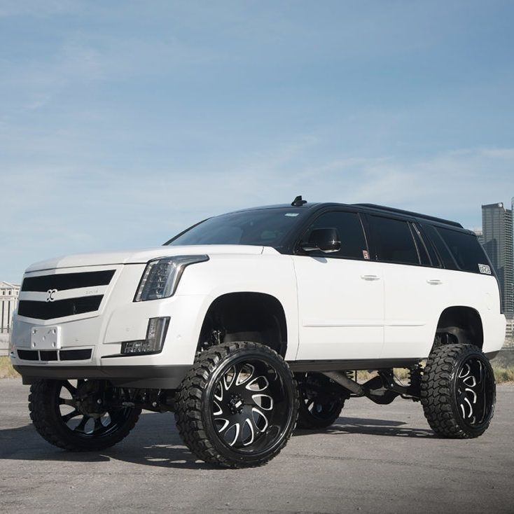 Lifted Cadillac Escalade Rolling On Grid Offroad Wheels Forged Gf10