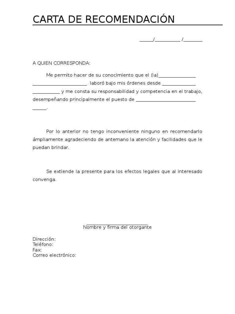 Modelos De Carta De Recomendacion Cartas De Recomendacion Formato De Carta Carta De Referencia Cartas de recomendacion personales ejemplos