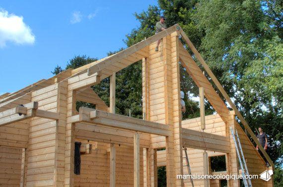 Maison bois  pose des chevrons Auto-construction - Self - jeux de construction de maison en 3d