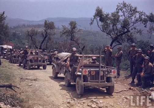June 1, 1944 Italy   Forces of the US 5th Army advance toward Rome. The US 2nd and 6th Corps, exploiting the capture of Velletri, attack through the Alban Hills toward Albano and Valmonte. With the breach of the Caesar Line, German Army Group C (Kesselring) orders a withdrawal north of Rome. Rearguards delay the American advance.