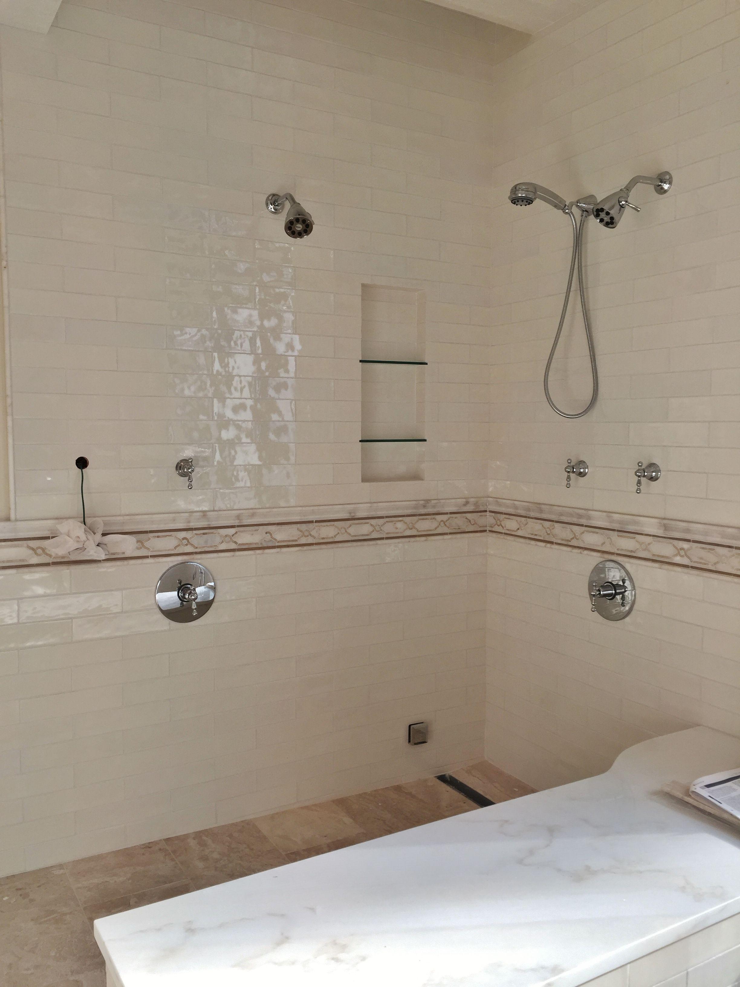 Master Bath Steam Shower Before Glass Enclosure 3x12
