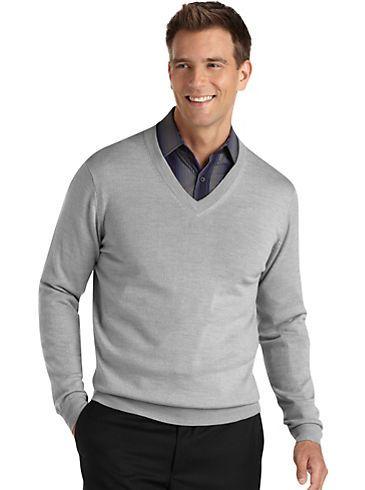 d23a6e7c80 Sweaters   Vests - Pronto Uomo Light Gray V-Neck Sweater - Men s Wearhouse