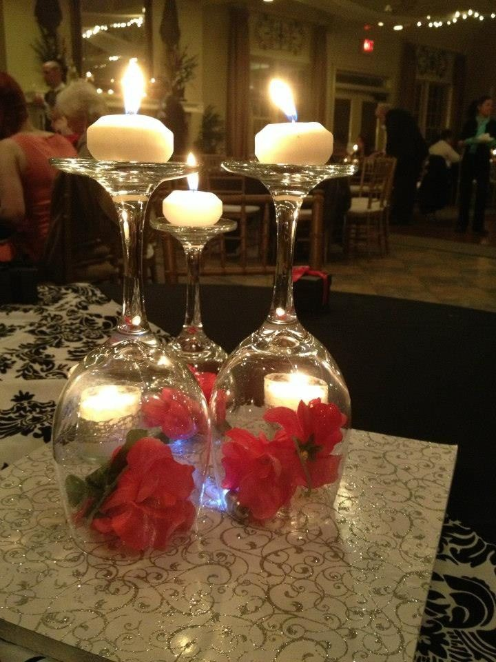 Upside Down Wine Glass Centerpieces For A Christmas Wedding I