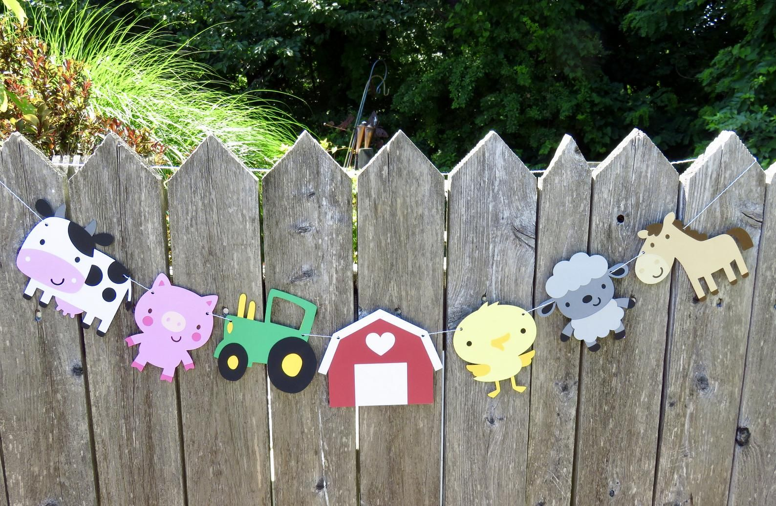 Photo of Farm Birthday Banner, Farm Animal Garland, Farm Birthday, Tractor Birthday, First Birthday, Animal Banner, Barn Animals, Baby Shower