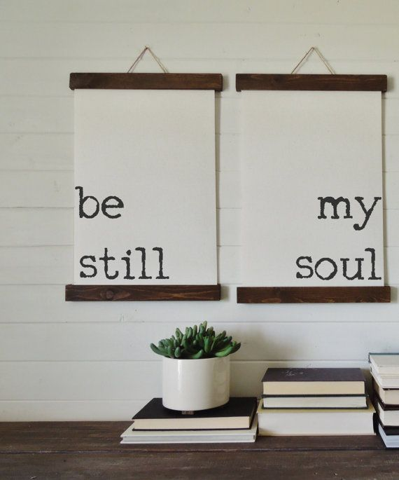 Be Still My Soul Calligraphy Wall Art Canvas By Thewoodedlane