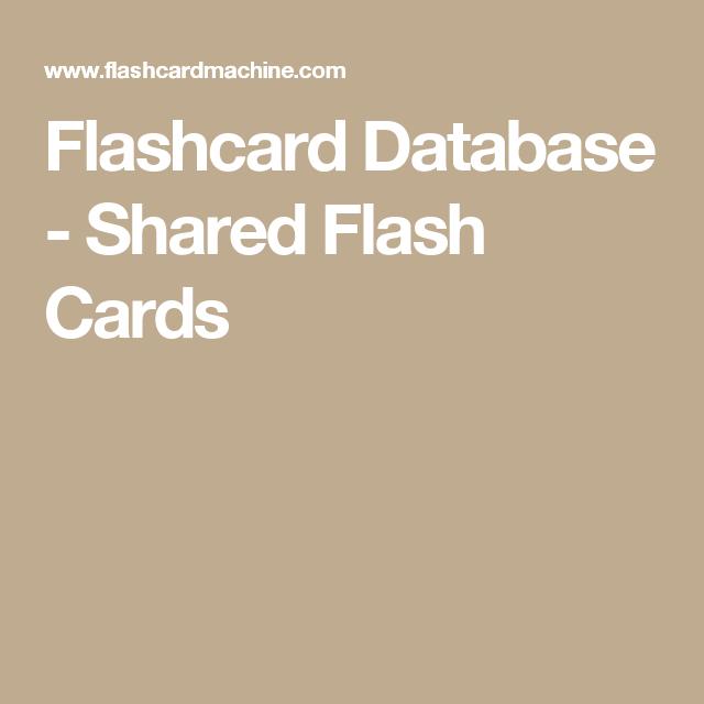 Flashcard Database Shared Flash Cards