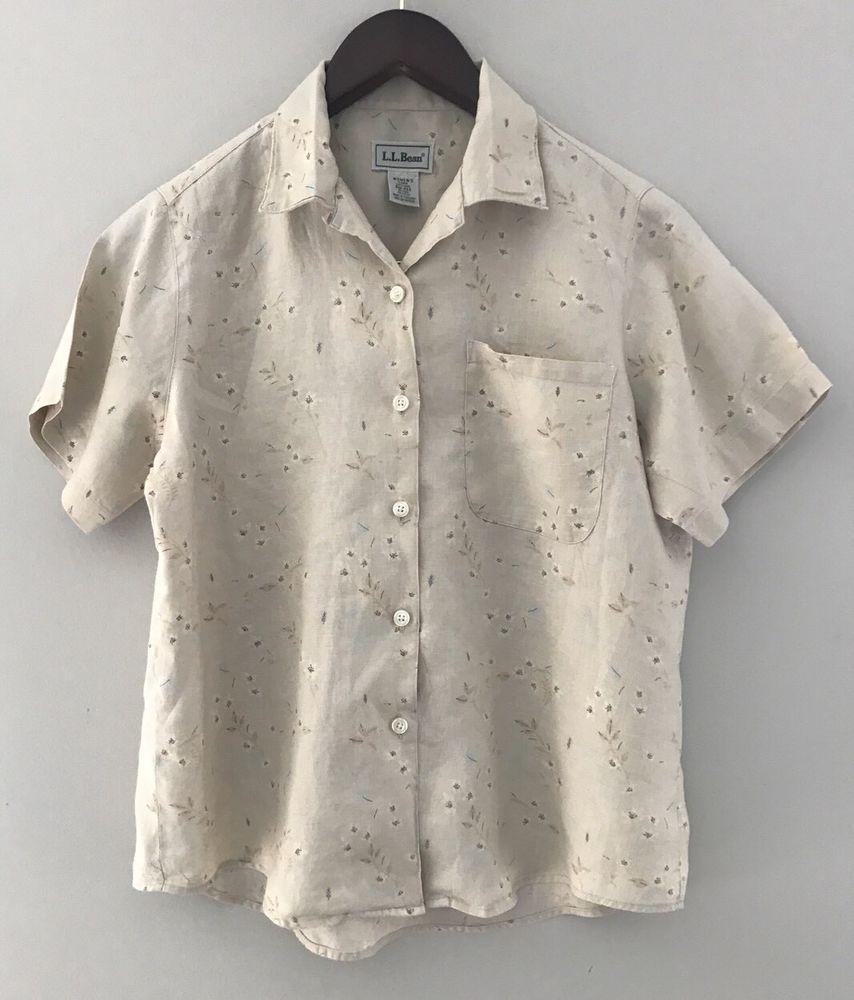 Women S Ll Bean Beige Short Sleeve Button Front Shirt Blouse Sz S M
