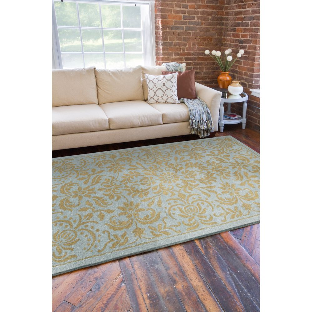 Hand-tufted Oslo Blue Floral New Zealand Wool Rug (8' x 11') | Overstock.com