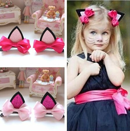 2pcs/lot children baby girls hair accessories clip hairpins barrettes headwear flower cat ears hairpin