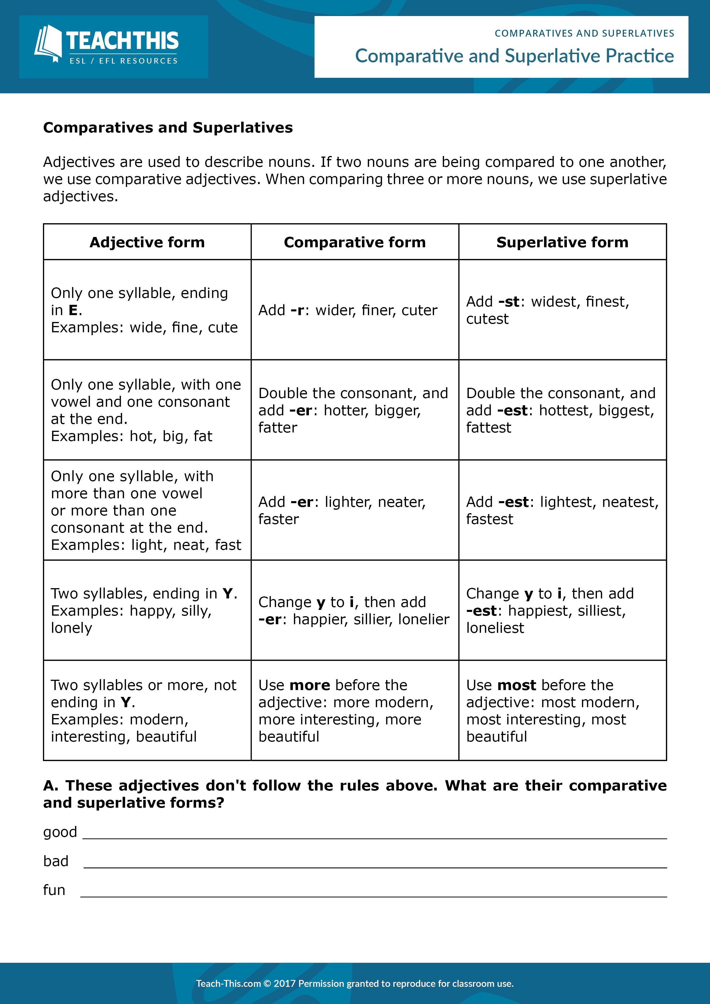 worksheet Comparative Superlative Worksheet comparatives and superlatives adjective form worksheets this entertaining five page lesson is ideal for teaching or reviewing comparative superlative adjective