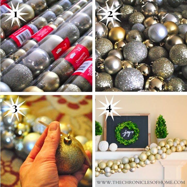 DIY Ornament Garland Christmas bulbs, Christmas holidays