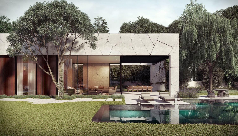diseño de casa en forma de l con piscina | casas | pinterest