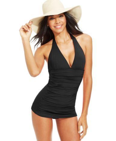 Coco Rave Ruched Bra-Size Halter Swimdress