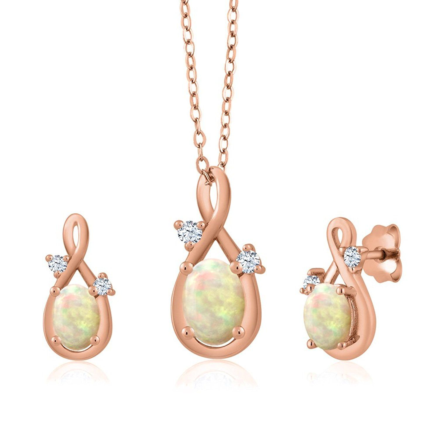 ct oval cabochon white ethiopian opal k rose gold pendant