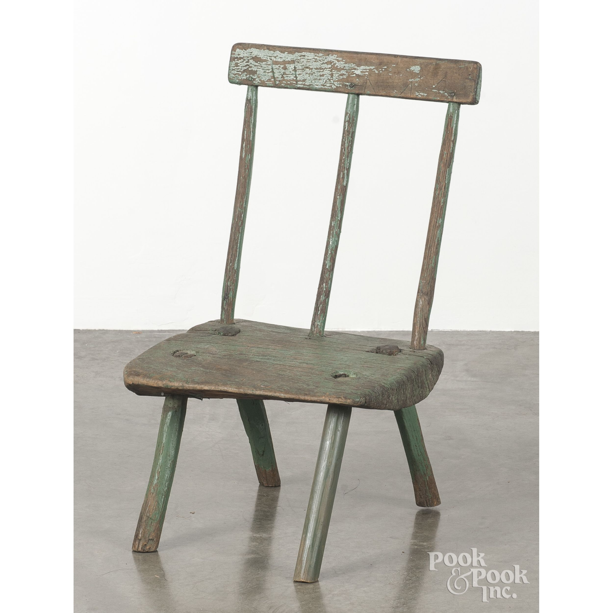 Primitive Peasants Chair 19th C Retaining An Old Green Surface  # Muebles Ebenezer