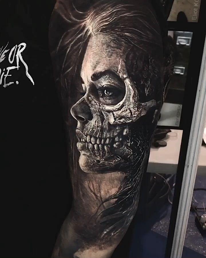 "Photo of Eliot Kohek on Instagram: ""#skull #tattoo done at @barcelonatattooexpo  Big th…"