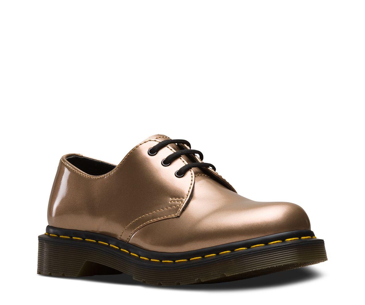 Dr.Martens Femme 1461 Vegan Chrome Paint Metallic Synthetic Chaussures