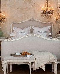 ELOQUENCE Sophia Louis XV Linen Upholstered Bed Antique White