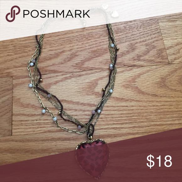 Betsey Johnson heart necklace Betsey Johnson pink heart necklace. Betsey Johnson Jewelry Necklaces