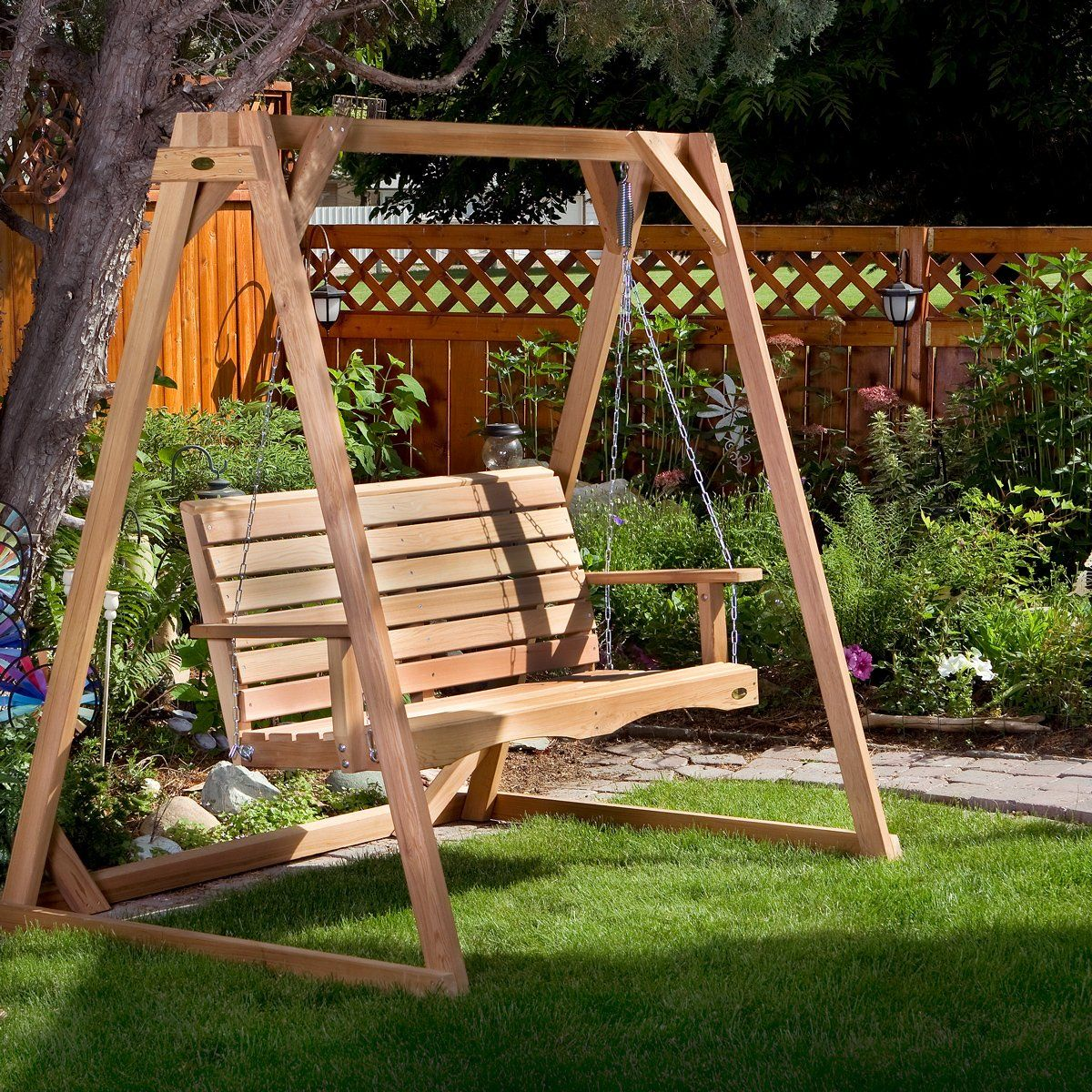 A Frame Swing Set 8 Ft In 2021 Porch Swing With Stand Porch Swing Porch Swing Frame Wooden porch swings with stand