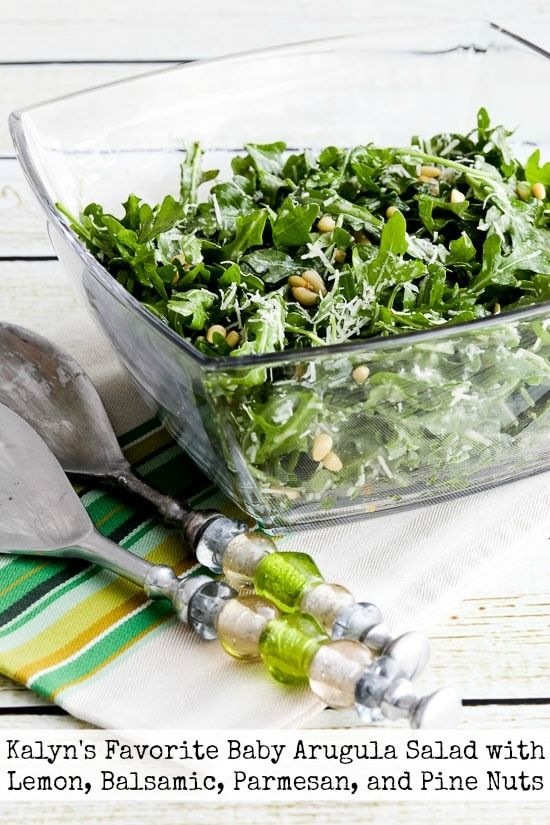 Kalyn S Favorite Baby Arugula Salad With Lemon Balsamic Parmesan And Pine Nuts Recipe
