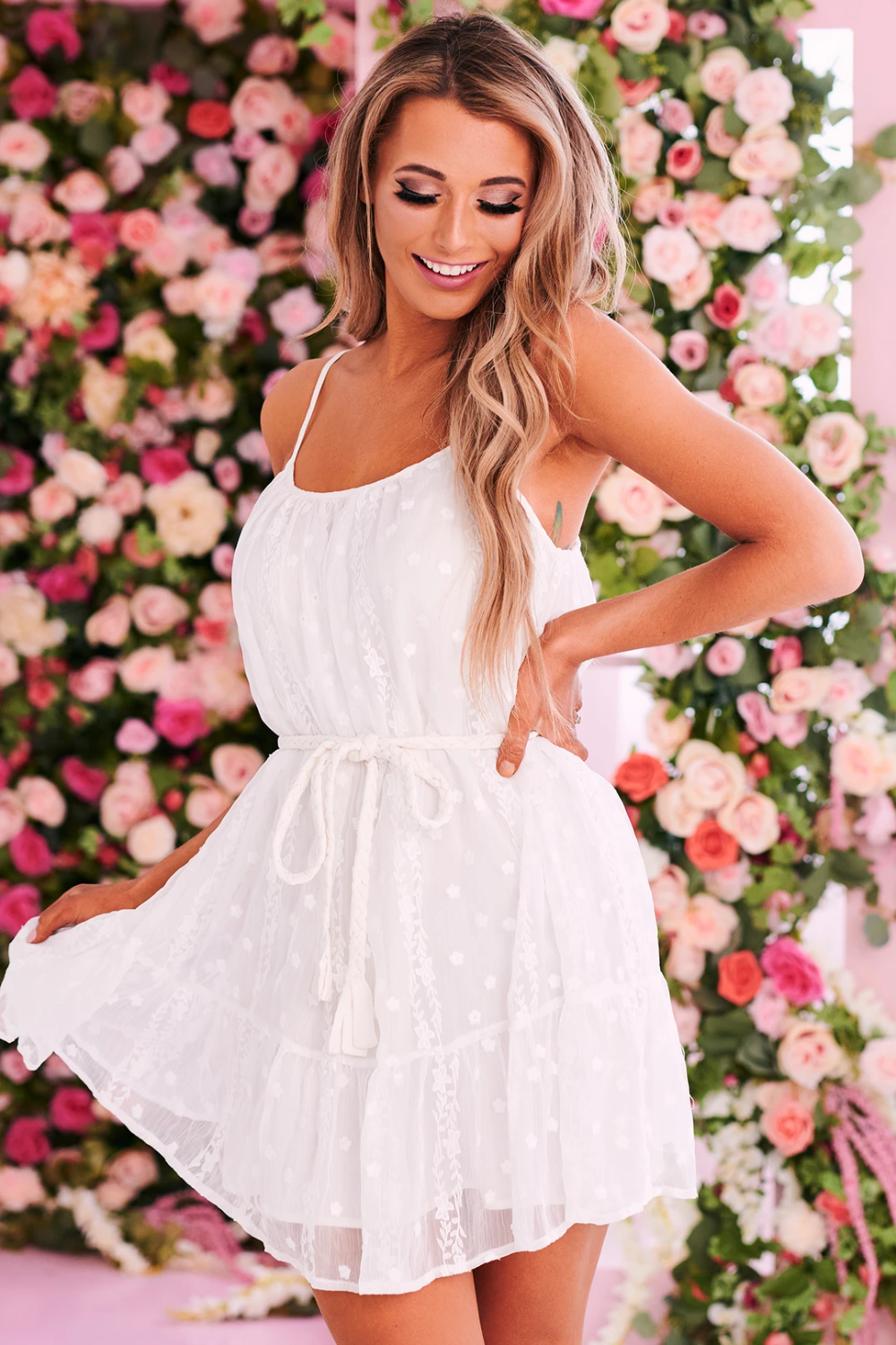 Talk Of The Town Floral Embroidered Dress White In 2021 Floral Embroidered Dress Dresses Embroidered Dress [ 1500 x 1000 Pixel ]