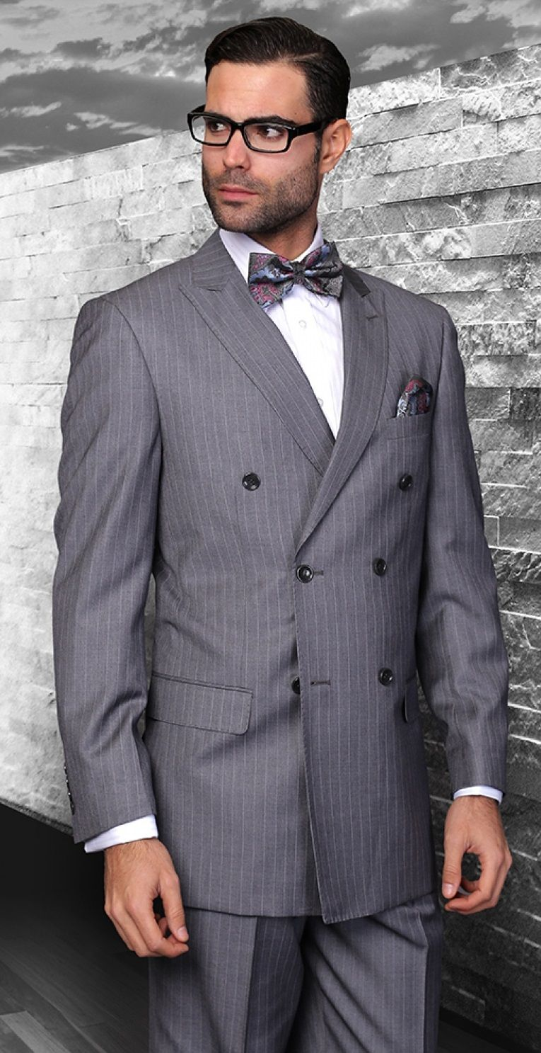 Statement Italian Wool Double Breasted Suits Charcoal Pinstripe TZD-300