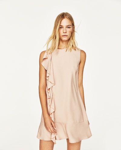 a7fbc7d5 STRAIGHT-CUT DRESS WITH FRILL-Mini-DRESSES-WOMAN   ZARA United States