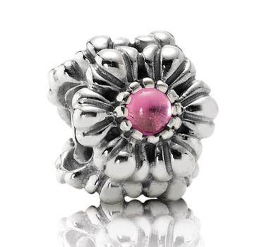Pandora Silver And Tourmaline Floral October Birthstone